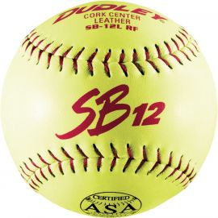 "Dudley 12"" SB 12L ASA Leather Slowpitch Softball (Dozen)"