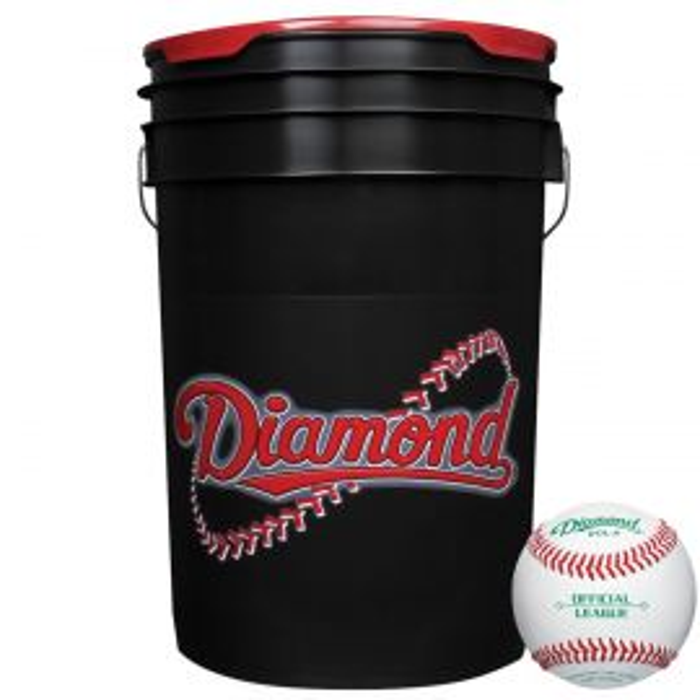 Diamond Black Bucket with DOL-A OL Baseballs (30 Balls)